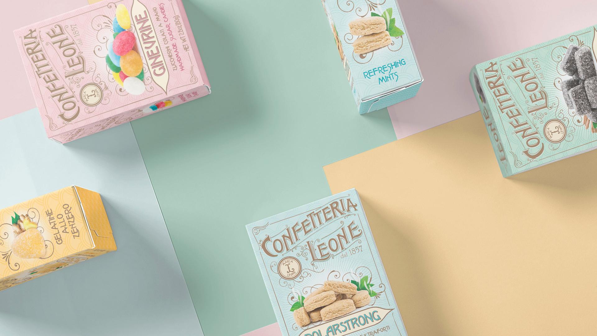 packaging per la linea di confetteria Leone