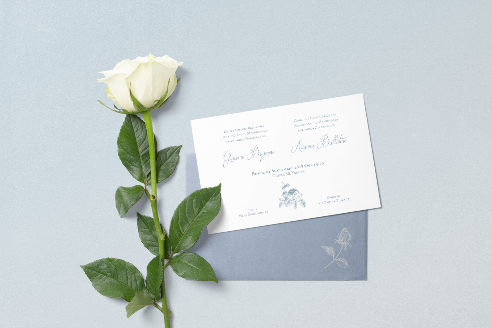 Rose blu – wedding invitation